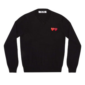 Double Heart Sweater Black Comme des Garcons