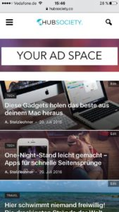 Mobile Ads Homepage Beispiele